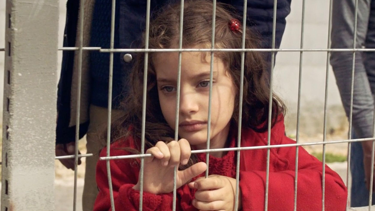 Small child looking through a gate
